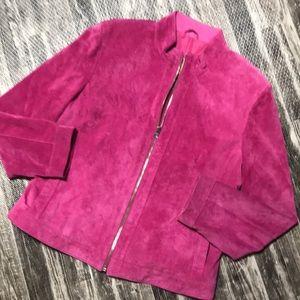 Pink Suede Leather zip up jacket